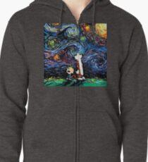 Calvin and hobbes Starry Night van Gogh Zipped Hoodie