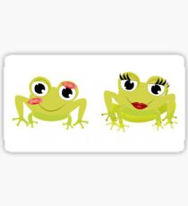 Green Couple Frog Sticker