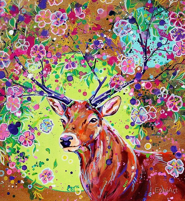 Spring Herald - Fantasy Stag Painting by EveiArt