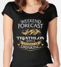 Weekend Forecast Triathlon With A Chance Of Drinking Women's Fitted Scoop T-Shirt