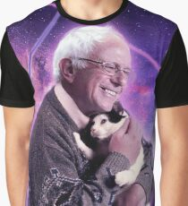 Bernie Sanders Halftone Cat in Space Graphic T-Shirt