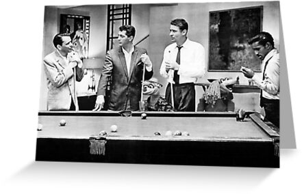 The Rat Pack Shooting Pool Greeting Card By Britishyank