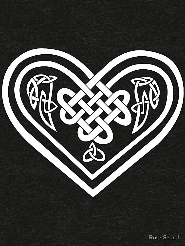 Celtic Heart - White on Black by arkadyrose