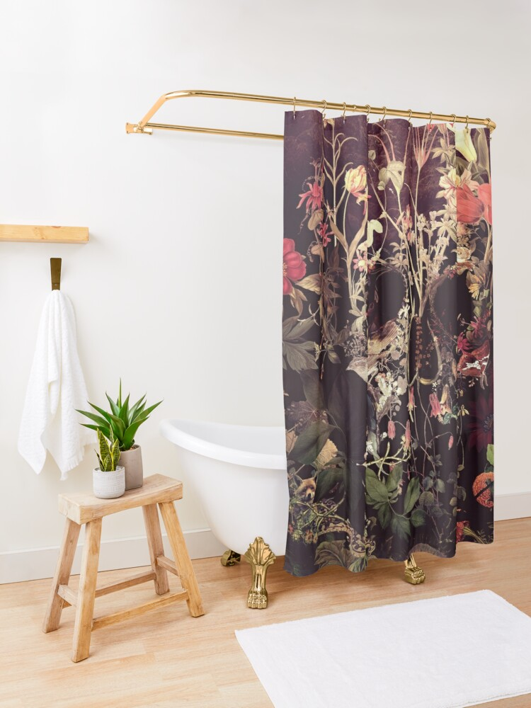 Alternate view of Bloom Skull Shower Curtain