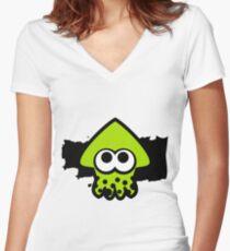 Splatoon Squid (Green) Women's Fitted V-Neck T-Shirt