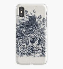 Monochrome Floral Skull iPhone Case