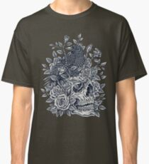 Monochrome Floral Skull Classic T-Shirt
