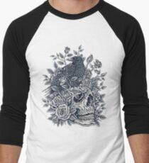Monochrome Floral Skull Men's Baseball ¾ T-Shirt