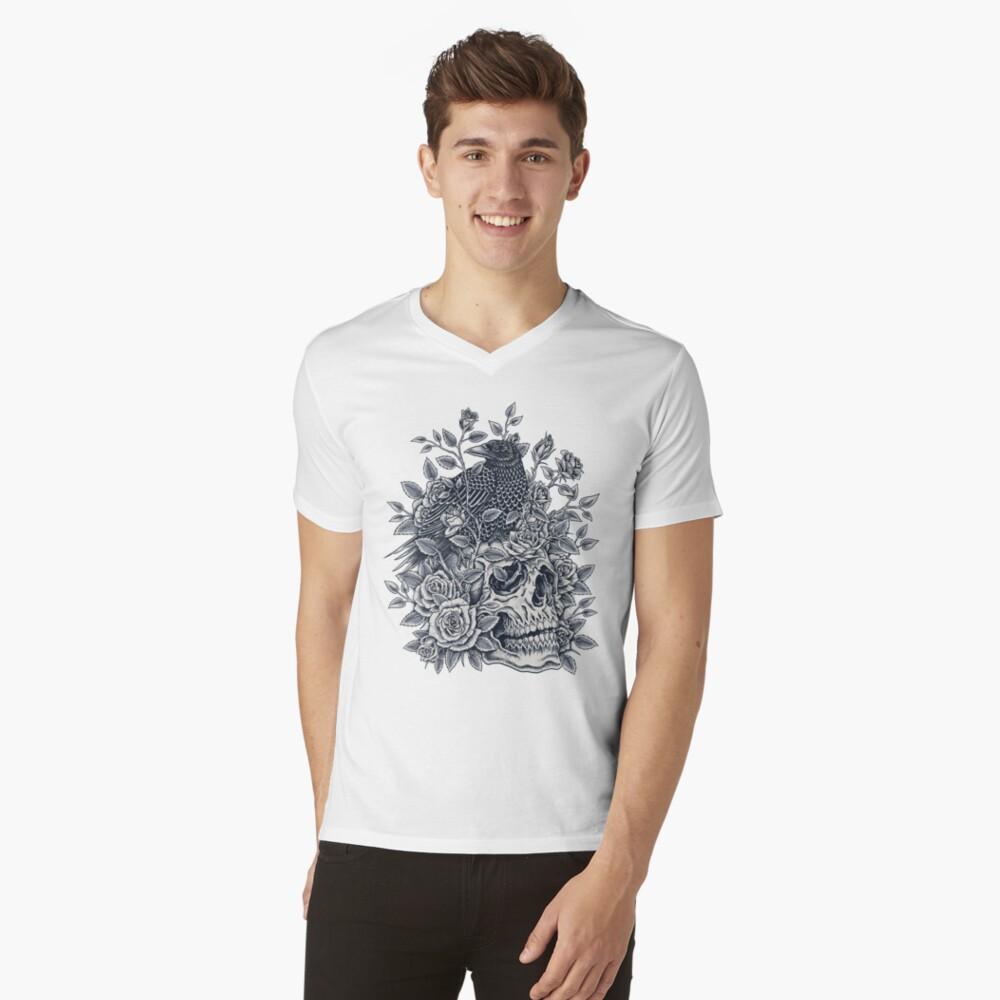 Cráneo floral monocromo Camiseta de cuello en V