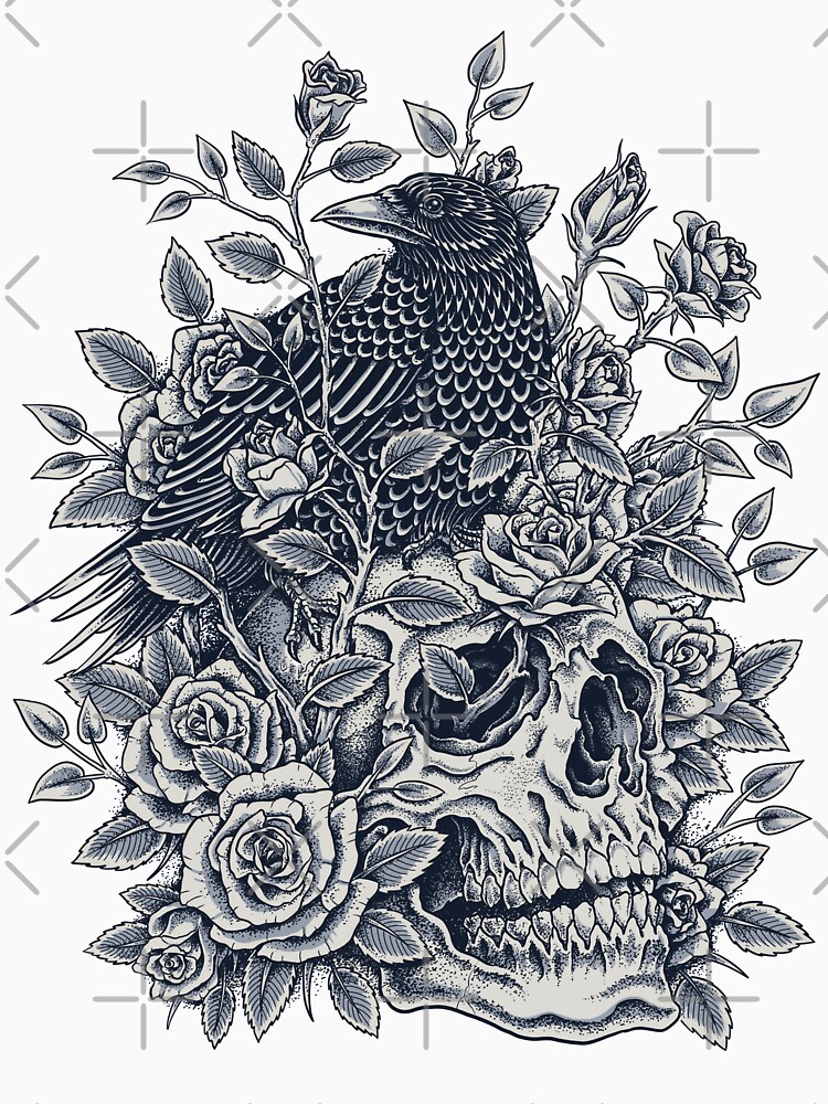 Cráneo floral monocromo de HINKLE
