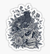 Monochrome Floral Skull Sticker