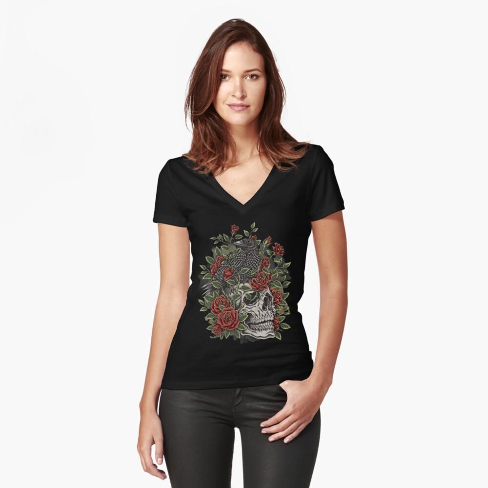 Cráneo floral Camiseta entallada de cuello en V