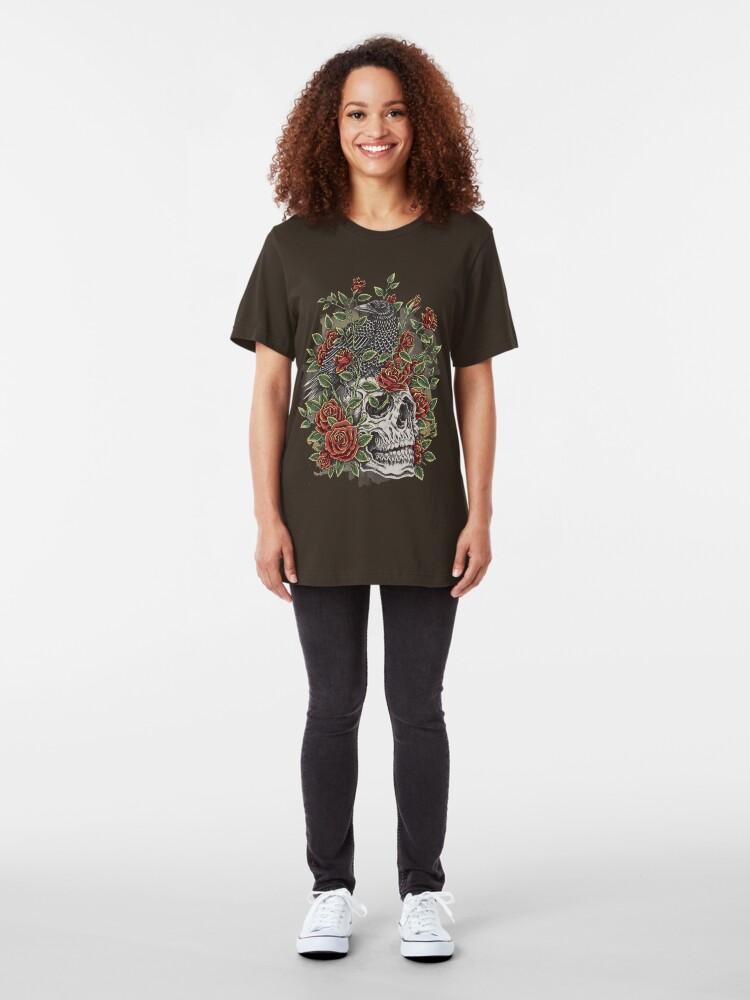 Vista alternativa de Camiseta ajustada Cráneo floral