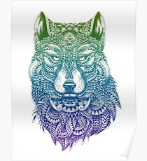 Abstract Wolf Poster