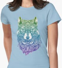 Abstract Wolf Womens Fitted T-Shirt
