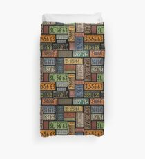 Route 66 License Plate Collection Duvet Cover