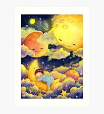 A baby sleeping in the moonlight Art Print