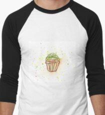 Chocolate Cupcake Watercolor  Men's Baseball ¾ T-Shirt