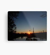 Sunset  with Rays Metal Print