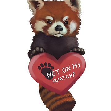 Not On My Watch - Red Panda With Heart by adriennecsedi