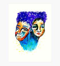 purple hair Art Print