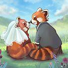Cute Red Panda Couple by Adrienn Ecsedi