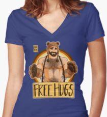 ADAM LIKES HUGS - BEAR PRIDE Women's Fitted V-Neck T-Shirt