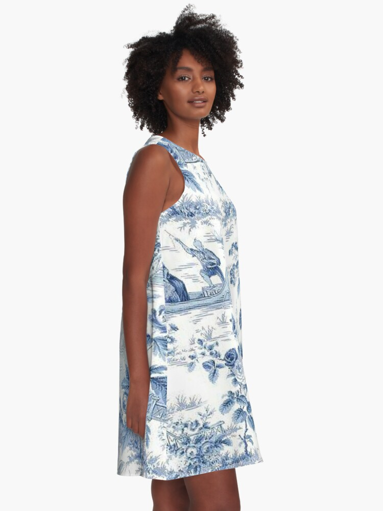Alternate view of Powder Blue Chinoiserie Toile A-Line Dress
