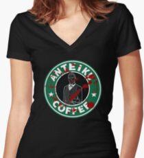 Camiseta entallada de cuello en V Café Anteiku