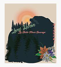 Lámina fotográfica Pinos, montañas y flores