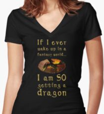 Fantasy Dragon Women's Fitted V-Neck T-Shirt