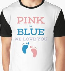 Gender Reveal Baby Shower Pink or Blue Funny Graphic T-Shirt