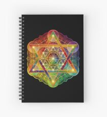 Metatron's Cube with Merkabah and Flower of Life Spiral Notebook