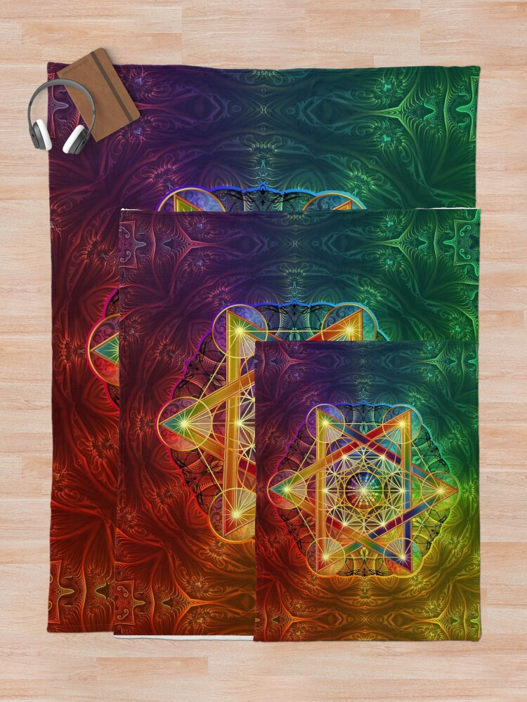 Alternate view of Metatron's Cube with Merkabah and Flower of Life Throw Blanket