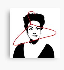 Joan Crawford portrait, black with red wire hanger Canvas Print
