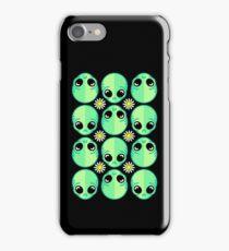 Sad Alien and Daisy Nineties Grunge Pattern Funny Geek Nerd iPhone Case/Skin