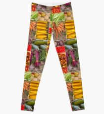 Fruit and Vegetable Collage Leggings