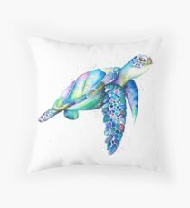 Rainbow Sea Turtle Throw Pillow