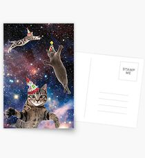 Cats in Space Birthday Postcards