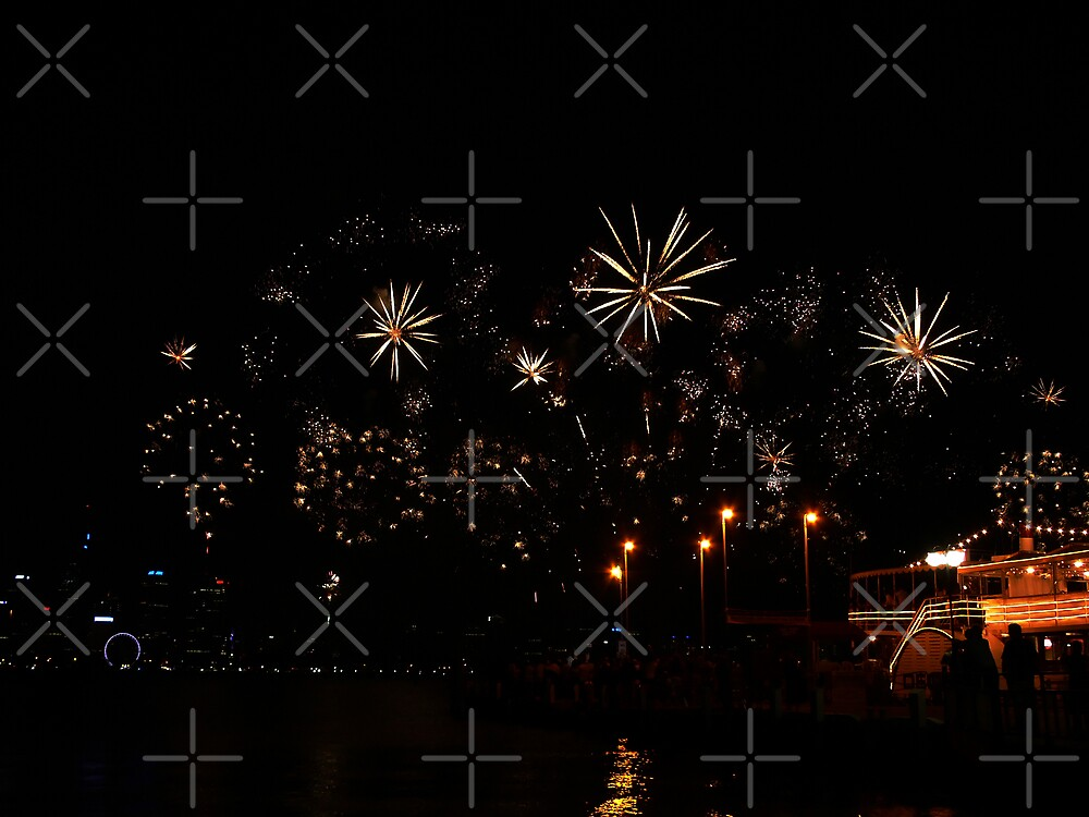Golden Sparkles - Perth Skyworks 2009 by Sandra Chung