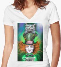 Cheshire Cat & Mad Hatter Alice in Wonderland Women's Fitted V-Neck T-Shirt