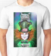 Cheshire Cat & Mad Hatter Alice in Wonderland Unisex T-Shirt