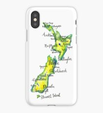 Watercolour map of New Zealand iPhone Case