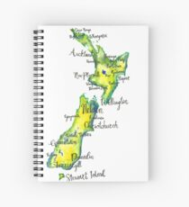 Watercolour map of New Zealand Spiral Notebook