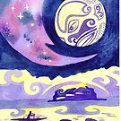 Polynesian outrigger canoe in the moonlight by Andrea England