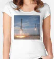 Spacex Falcon Heavy Side Booster Landung Tailliertes Rundhals-Shirt