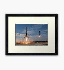Spacex Falcon Heavy Side Boosters Landing Framed Print
