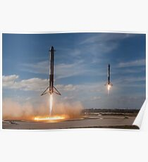 Spacex Falcon Heavy Side Boosters Landing Poster