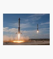 Spacex Falcon Heavy Side Boosters Landing 60 MegaPixel Image Photographic Print