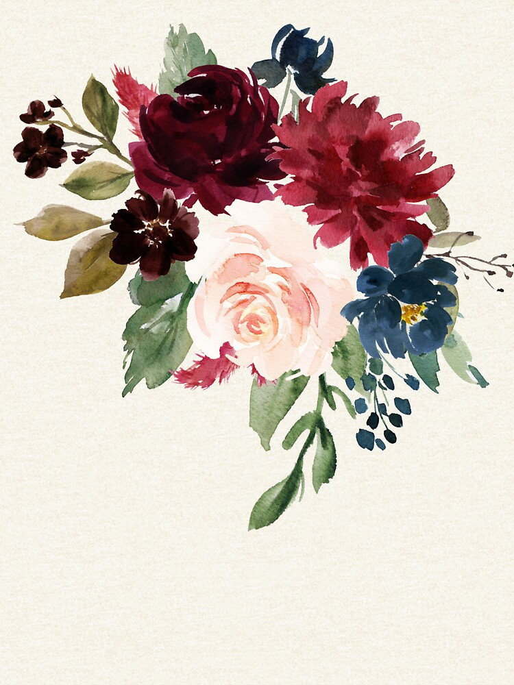 Burgundy Navy Floral Watercolor  by junkydotcom
